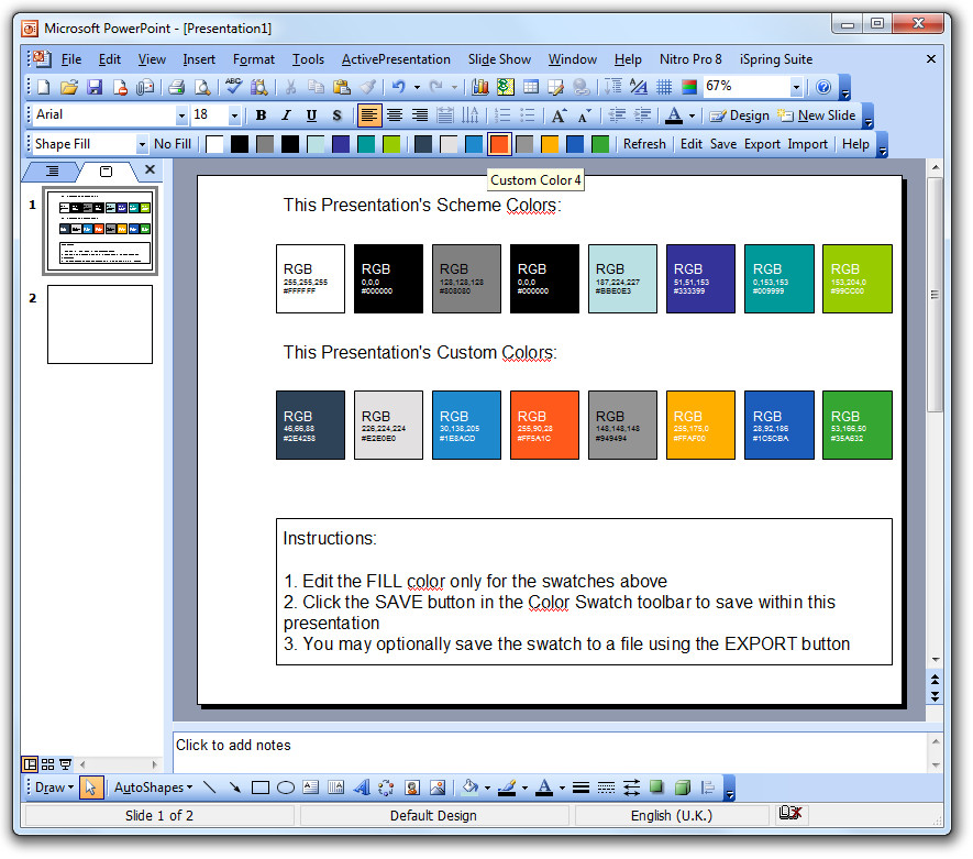 Color Swatch add-in for PowerPoint 2003